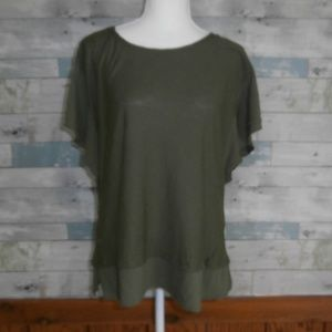 Vince Camuto Green Scoop Neck Peplum Top - A21